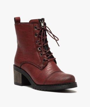 Boots femme unies à talon carré et zip décoratif vue2 - GEMO(URBAIN) - GEMO