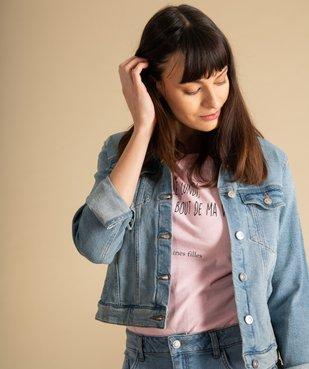 Veste en jean femme coupe large et courte vue1 - GEMO(FEMME PAP) - GEMO