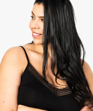 Nuisette femme à bretelles ajustables et col V dentelle vue2 - GEMO(HOMWR FEM) - GEMO