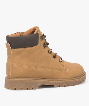 Boots garçon avec col rembourré, lacets montagne et semelle crantée vue4 - GEMO (ENFANT) - GEMO