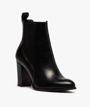 Boots femme à talon dessus style chelsea en cuir uni vue2 - GEMO(URBAIN) - GEMO