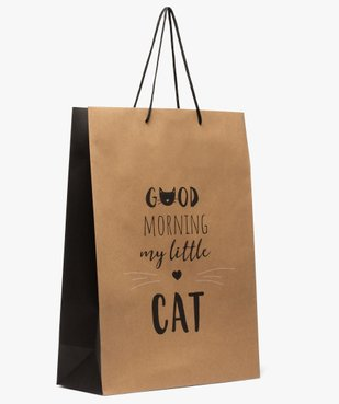 Sac cadeau en papier kraft recyclé imprimé chat et message vue1 - GEMO C4G FEMME - GEMO