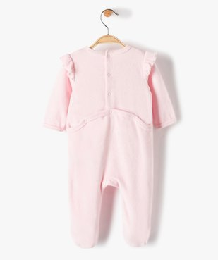 Pyjama bébé fille en velours avec volants sur les épaules vue4 - GEMO(BB COUCHE) - GEMO