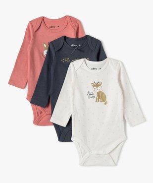Body bébé fille manches longues avec motif biche (lot de 3) vue1 - GEMO(BB COUCHE) - GEMO