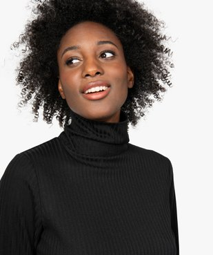 Tee-shirt femme en maille côtelée manches longues et col montant vue2 - GEMO(FEMME PAP) - GEMO