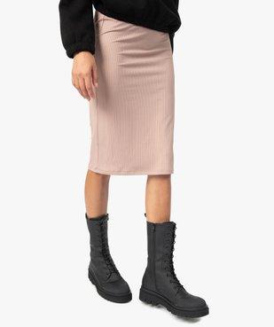 Jupe femme longue en maille côtelée vue1 - GEMO(FEMME PAP) - GEMO