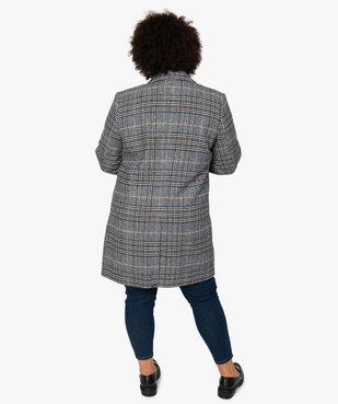 Manteau femme mi-long à carreaux vue3 - GEMO (G TAILLE) - GEMO