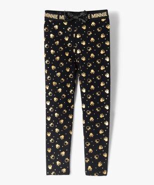 Legging fille imprimé têtes de Minnie dorées avec nœud satin vue1 - MINNIE - GEMO