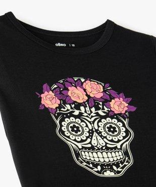 Tee-shirt fille motif calavera phosphorescent vue3 - GEMO (JUNIOR) - GEMO
