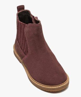Boots fille zippées dessus cuir retourné style chelsea vue5 - Nikesneakers (ENFANT) - Nikesneakers