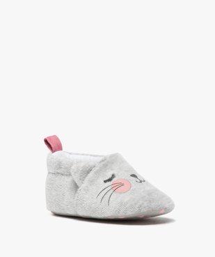 Chaussons de naissance bébé fille en velours motif chat vue4 - GEMO(BB COUCHE) - GEMO