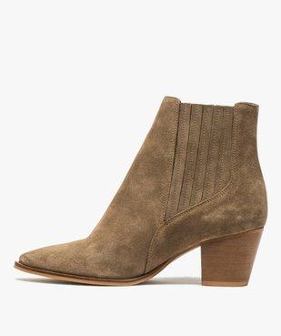 Boots femme à talon dessus cuir uni style santiag vue3 - GEMO(URBAIN) - GEMO