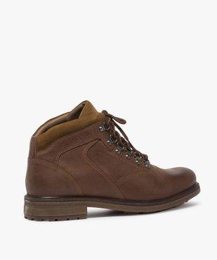 Boots homme avec dessus cuir lisse et lacets montagne vue4 - GEMO (CASUAL) - GEMO