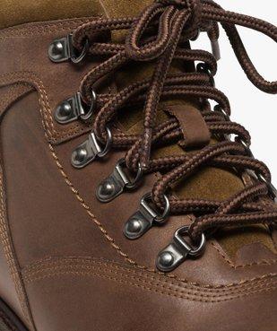 Boots homme avec dessus cuir lisse et lacets montagne vue6 - GEMO (CASUAL) - GEMO