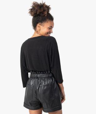 Tee-shirt femme avec col V fantaisie  vue3 - GEMO(FEMME PAP) - GEMO