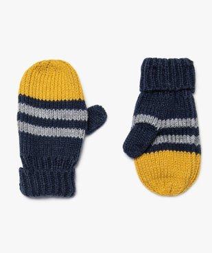 Moufles bébé garçon à rayures vue1 - GEMO(BEBE DEBT) - GEMO