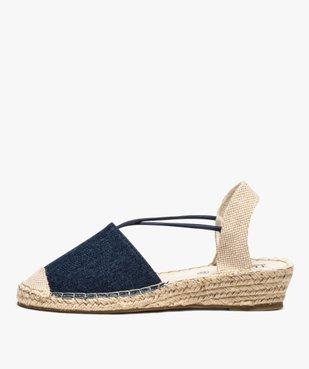 Sandales femme en toile à talon compensé – Terre de Marins vue3 - TERRE DE MARINS - GEMO