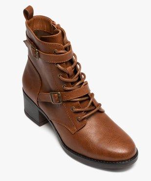 Boots femme unies à talon avec lacets et brides vue5 - GEMO(URBAIN) - GEMO