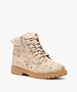 Boots femme à lacets col rembourré et semelle crantée Dessus imprimé fleuri vue2 - GEMO (CASUAL) - GEMO