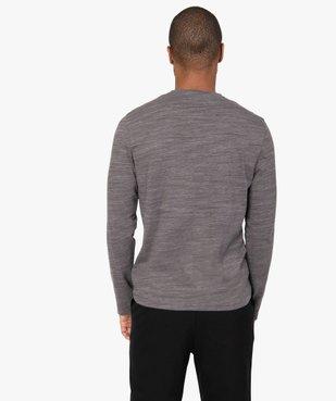 Tee-shirt homme à manches longues et col tunisien vue3 - GEMO (HOMME) - GEMO
