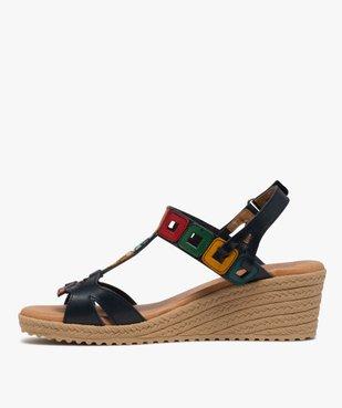 Sandales femme à talon compensé et brides en cuir colorées vue3 - GEMO(URBAIN) - GEMO