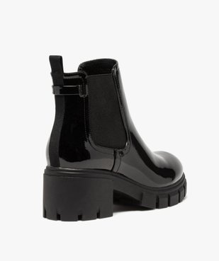 Boots femme à talon carré et semelle crantée dessus verni vue4 - GEMO(URBAIN) - GEMO