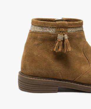 Boots fille zippés dessus cuir pompons et bordure pailletés vue6 - Nikesneakers (ENFANT) - Nikesneakers