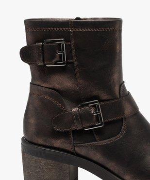 Boots femme métallisées à talon carré et semelle crantée vue6 - GEMO(URBAIN) - GEMO