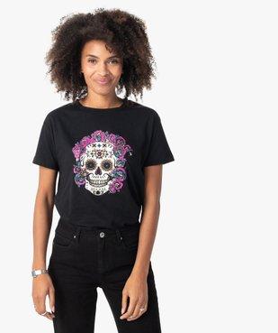 Tee-shirt femme à manches courtes avec motif tête de mort vue1 - GEMO(FEMME PAP) - GEMO