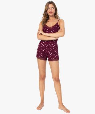 Haut de pyjama femme à fines bretelles et dentelle vue5 - GEMO(HOMWR FEM) - GEMO