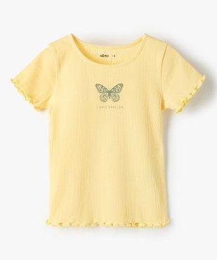 Tee-shirt fille en maille côtelée avec finitions froncées vue1 - GEMO C4G FILLE - GEMO