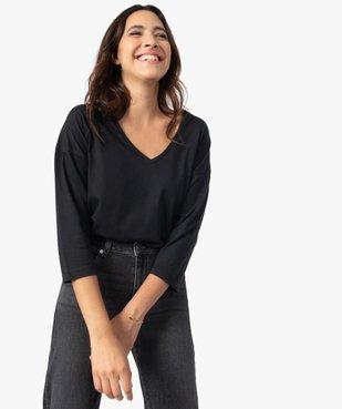 Tee-shirt femme à manches ¾ col V vue1 - GEMO(FEMME PAP) - GEMO