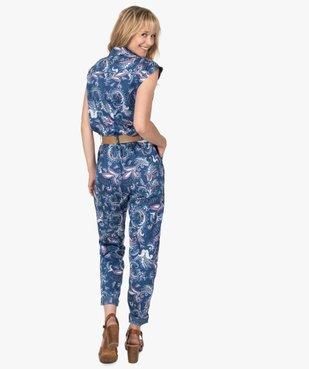 Combinaison pantalon femme imprimée avec ceinture vue3 - GEMO(FEMME PAP) - GEMO