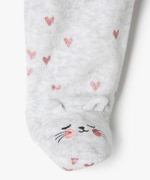 Pyjama bébé fille en velours avec motifs cœurs  vue3 - GEMO(BB COUCHE) - GEMO