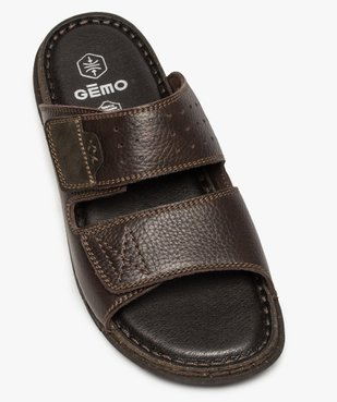 Sandales homme mules dessus et intérieur cuir vue5 - ZEN AIR - GEMO