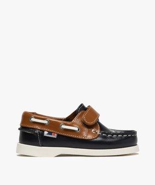 Chaussures bateau garçon dessus cuir à fermeture scratch Dessus cuir lisse bicolore vue1 - GEMO (ENFANT) - GEMO