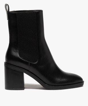 Boots femme à talon carré dessus uni style chelsea vue1 - GEMO(URBAIN) - GEMO