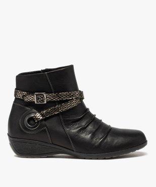 Boots femme confort à talon compensé dessus drapé vue1 - GEMO (CASUAL) - GEMO