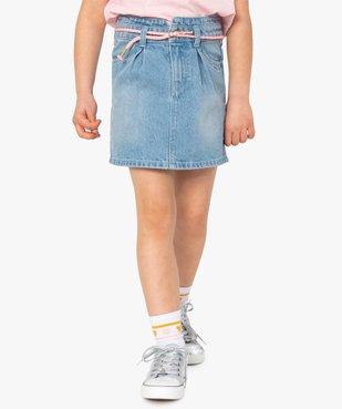 Jupe fille en jean avec pinces et ceinture – Lulu Castagnette vue1 - LULUCASTAGNETTE - GEMO