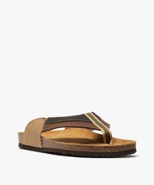 Sandales homme à bride entre-doigts en toile et cuir vue2 - GEMO (CASUAL) - GEMO