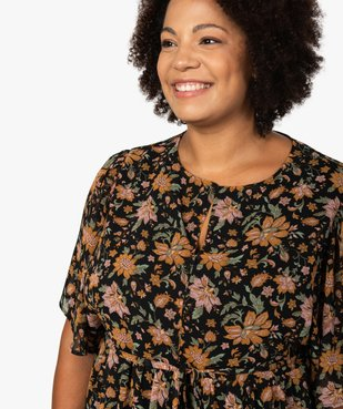 Blouse femme à manches courtes et motifs fleuris vue2 - GEMO (G TAILLE) - GEMO