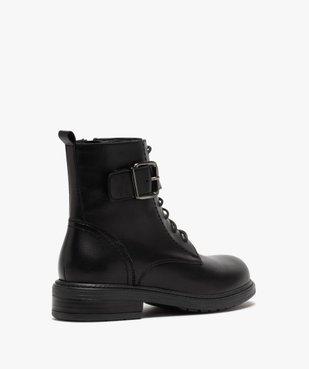 Boots fille zippées à lacets et bride décorative dessus cuir uni vue4 - GEMO (ENFANT) - GEMO