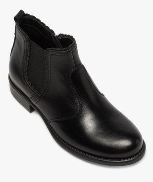 Boots fille style chelsea dessus cuir uni à bords dentelés vue5 - GEMO (ENFANT) - GEMO