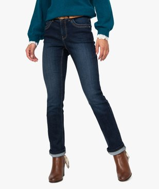 Jean femme regular taille normale brut avec ceinture vue2 - GEMO(FEMME PAP) - GEMO
