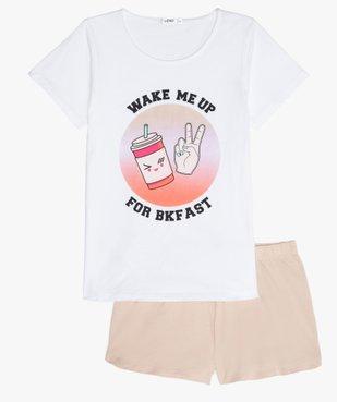 Pyjashort fille avec large motif sur le haut vue1 - GEMO (JUNIOR) - GEMO