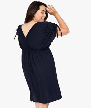 Robe femme courte effet drapé à manches modulables vue3 - GEMO (G TAILLE) - GEMO