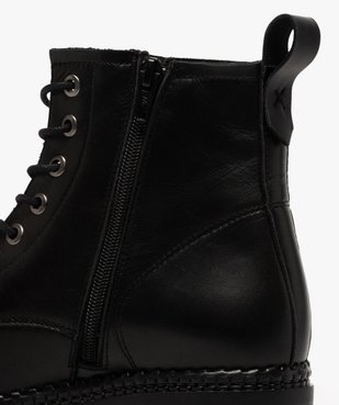 Boots femme dessus cuir uni à lacets et semelle crantée vue6 - GEMO (CASUAL) - GEMO