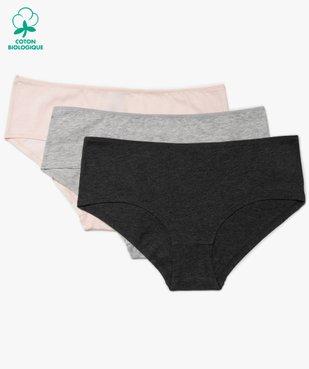 Shorties femme unis 100% coton biologique (lot de 3) vue1 - GEMO C4G FEMME - GEMO