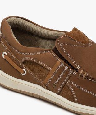 Chaussures bateau homme unies en cuir – Terre de Marins vue6 - TERRE DE MARINS - GEMO