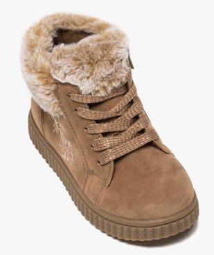 Boots fille zippées dessus suédine et col fourrure imitation  vue5 - GEMO (ENFANT) - GEMO